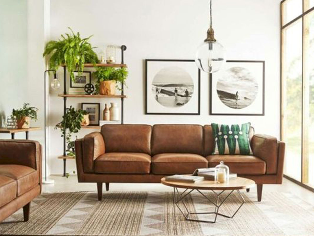 mid-century modern living room leather sofa
