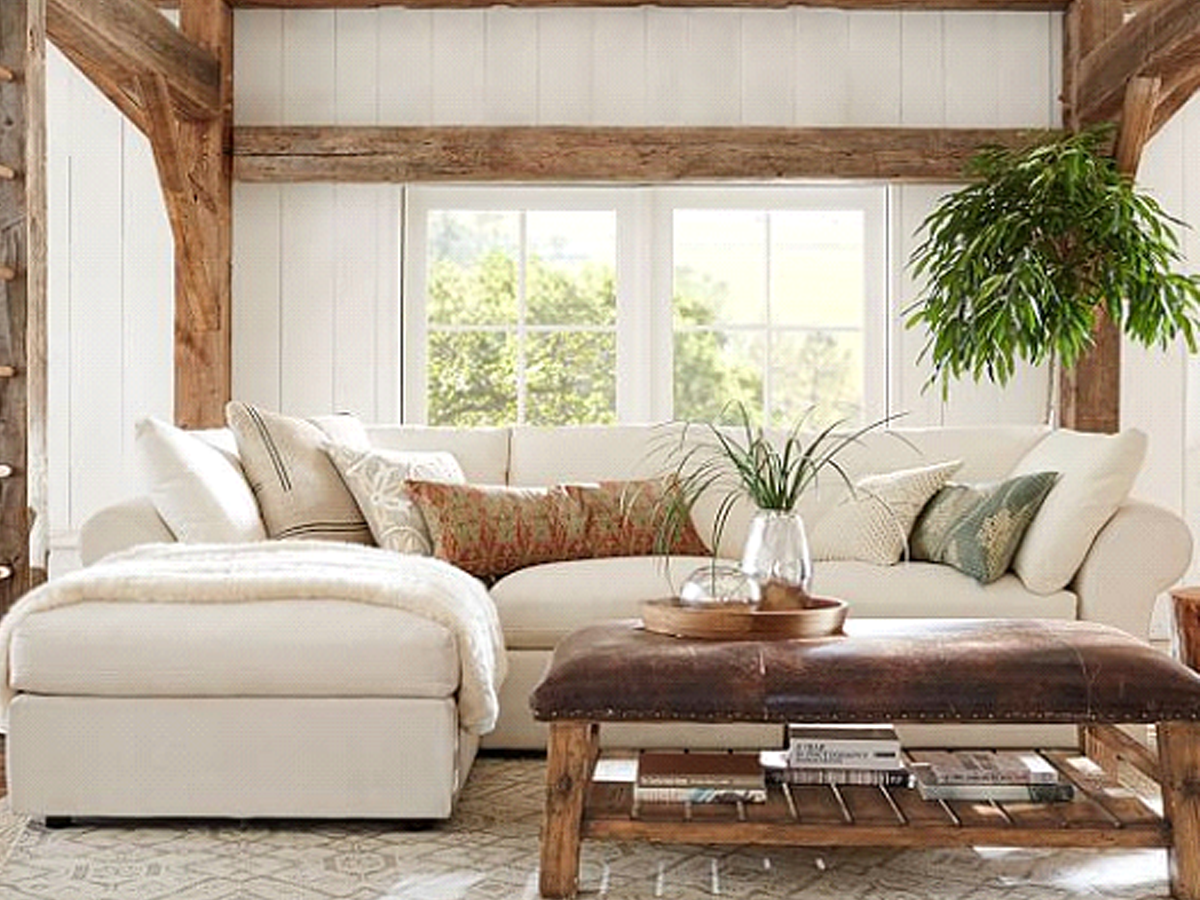 White Sofa with Chaise